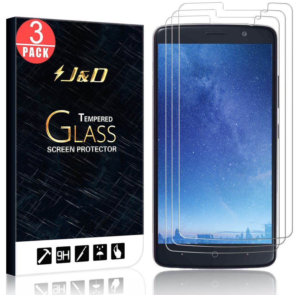 J&D Compatible for 3-Pack ZTE Blade Max 3/ZTE Max XL, ZTE N9560 Glass  Screen Protector, [Tempered Glass] [Not Full Coverage] Clear Ballistic  Glass
