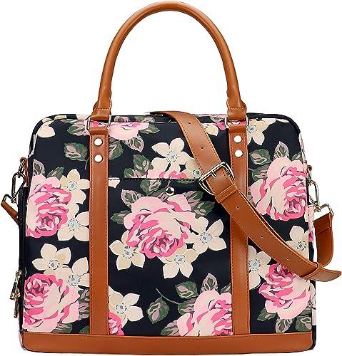 Women Waterproof Weekender Bag Overnight Carry on Duffel Tote PU Leather Strap – Floral