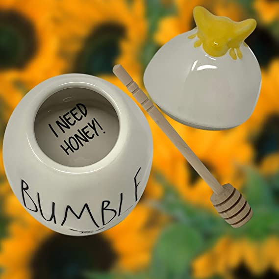 BUMBLE Spelled in Large Black LL Font Letters And Yellow Bumble Bee On Lid Artisan Collection By Magenta Cute Honey Dispenser Comes With A Wooden Honey Dipper Rae Dunn Honey Pot//Honey Jar