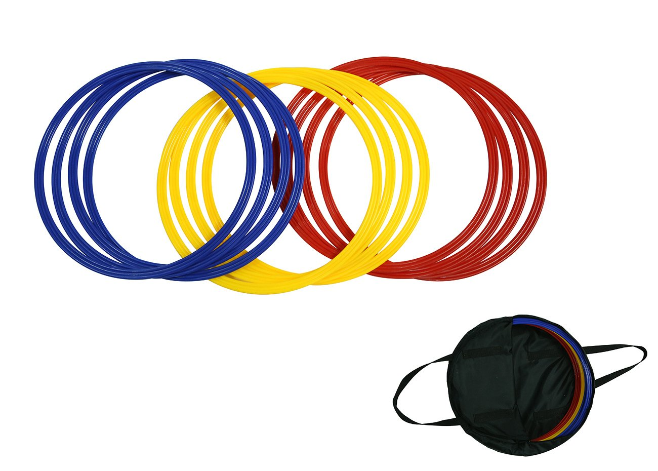 Trademark Innovations Speed & Agility Training Rings - Set of 12 - 16'' Diameter - With Carrycase - (Multicolor)