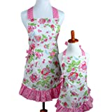 Bumblebee Linens Mommy Daughter Matching Pink Floral Hostess Kitchen Cloth Apron Set with Pockets - Woman Toddler Girl