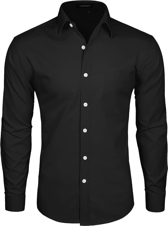 HISDERN Camisa de Vestir Formal para Hombre Camisas de Algodon de Manga Larga con Botones solidos para Hombres