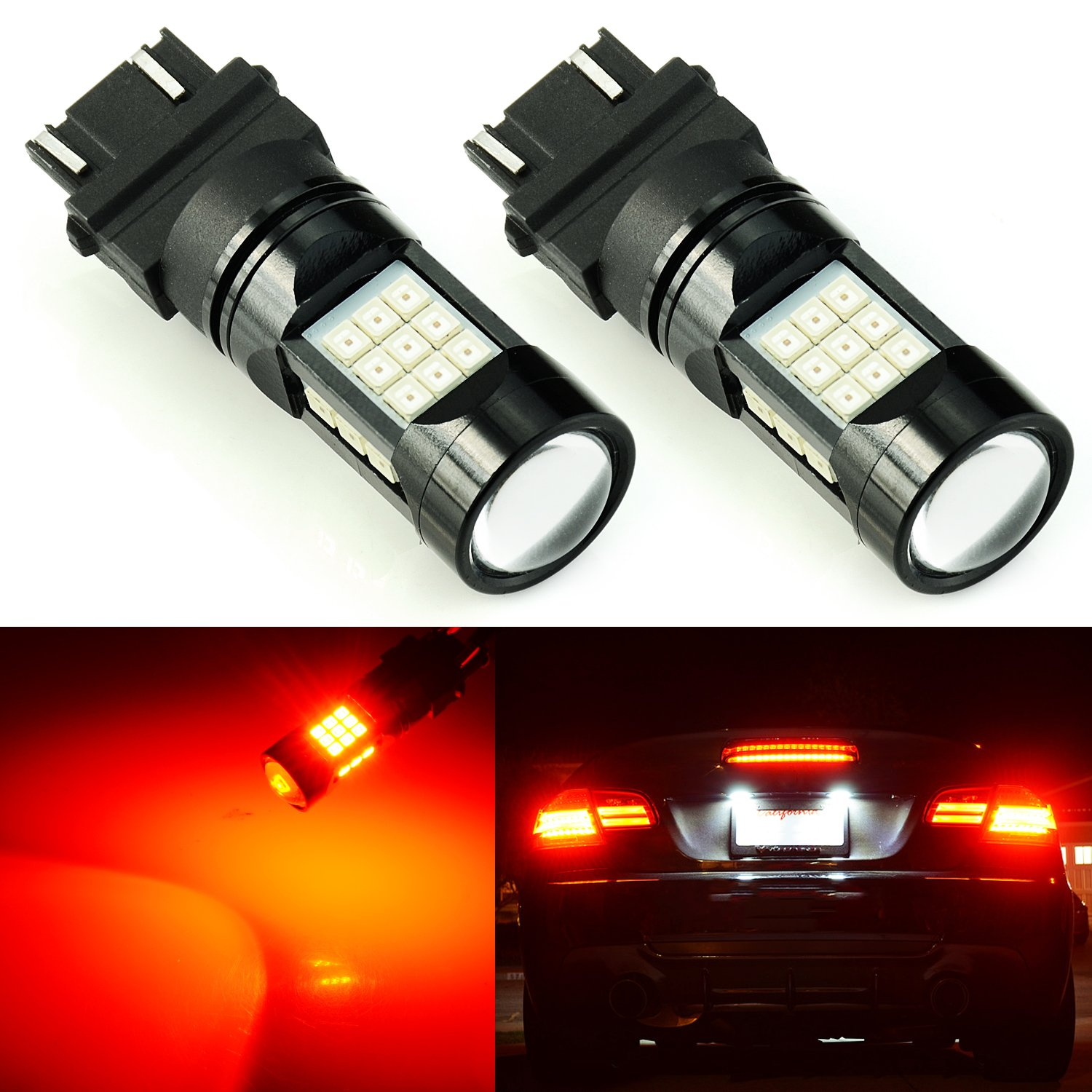 JDM ASTAR 2600 Lumens Extremely Bright PX Chips 3056 3156 3057 3157 4057 4157 LED Bulbs with Projector, Amber Yellow