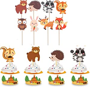 Genda 2Archer 24PCS Woodland Animals Creatures Cupcake Toppers Baby Shower Birthday Party Supplies Forest Animals Theme Decorations