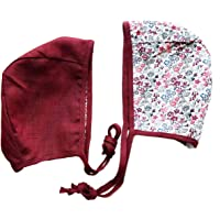 Mali Wear Baby Bonnet Hat Reversible Dual Side Linen, Cotton Floral Combinations Spring Summer Fall Evy Collection Bonnets