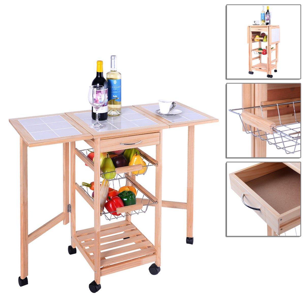 Portable Rolling Kitchen Trolley Cart Drop Leaf Storage With 2 Smooth Chrome Plated Pull-out Baskets TSE176A