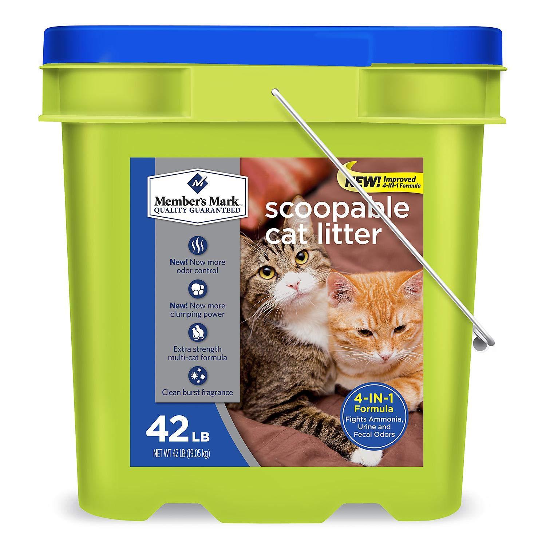 Member's Mark 4-in-1 Formula Scoopable Cat Litter, 42 lb. (packof 2)