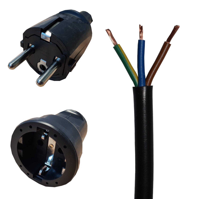 3m schwarz Verlängerungskabel Stromkabel Schuko PVC H05VV-F 3x1,5