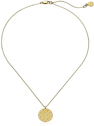 Michael Kors MK Etched Monogram Disc Gold Pendant Necklace