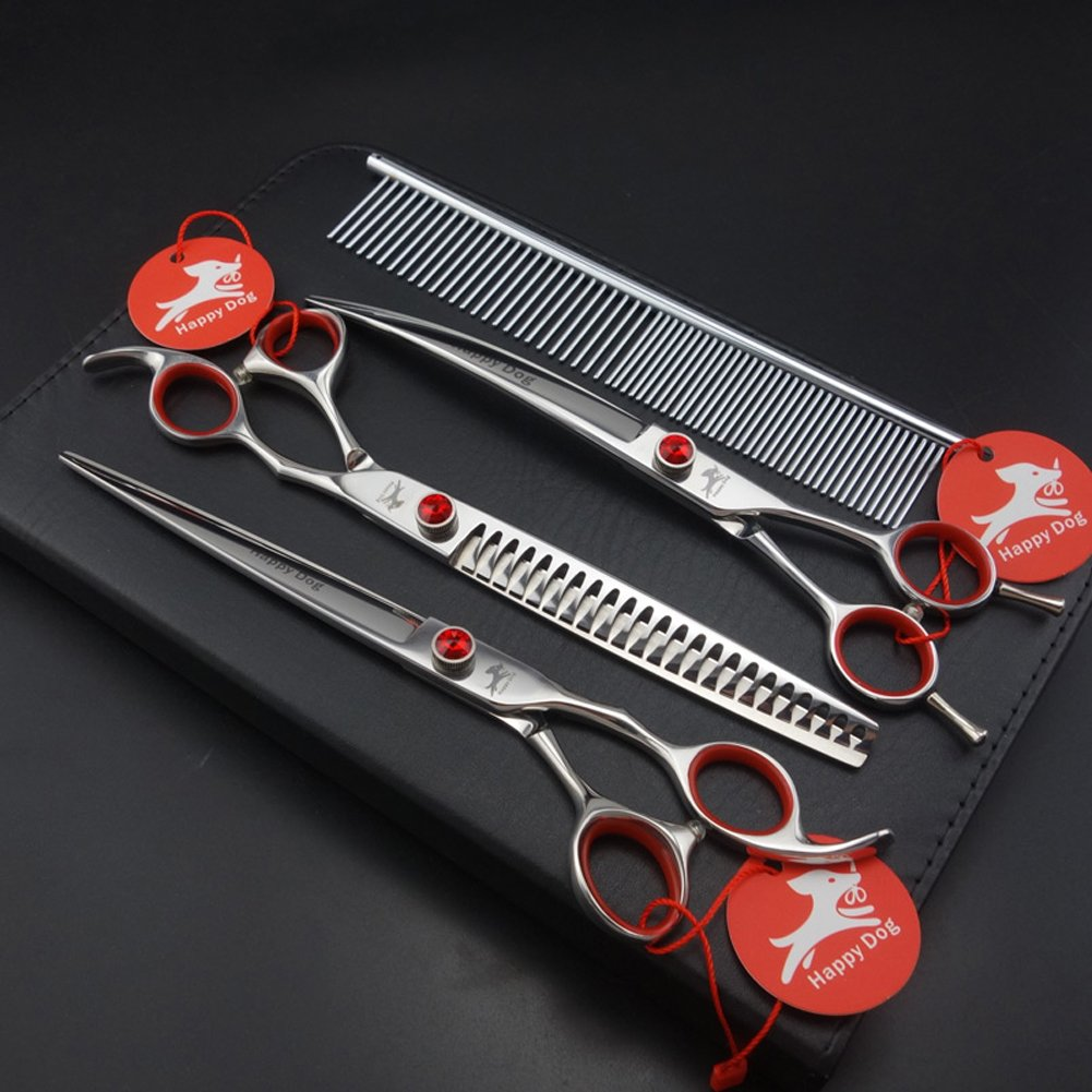 8.0 inches professional pet grooming scissors,pet straight scissors&chunkers&curved scissors set,pet scissors set,dog scissors,with bearing bolt,440C