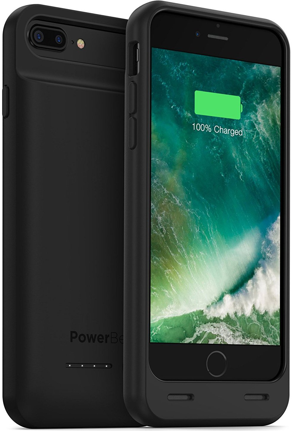 PowerBear iPhone 7 Plus Battery Case/iPhone 8 Plus Battery Case [4000 mAh] High Capacity Rechargeable Charger Pack for Apple iPhone 7+ / 8+ (Up to 135% Extra Battery) - Black [24 Month Warranty]