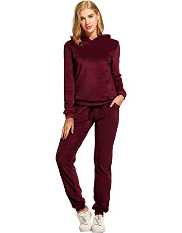 62cbc0ad4ec3 Hotouch Women s Solid Velour Sweatsuit Set Hoodie and Pants Sport Suits  Tracksuits