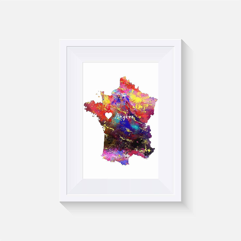 impression aquarelle France Angers Inspir/é Paysage urbain Affiche divers Tailles Cadre non inclus mur art