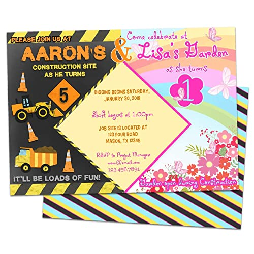 Amazon Com Joint Birthday Invitation Siblings Garden Construction