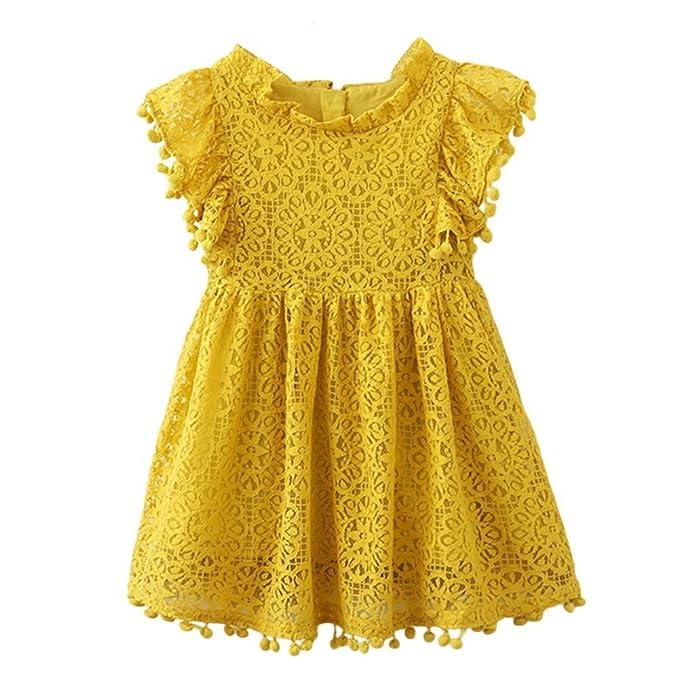 9bba42d3b7e Amazon.com: KIMJUN Baby Girls Dress Tassel Lace Princess Dresses ...