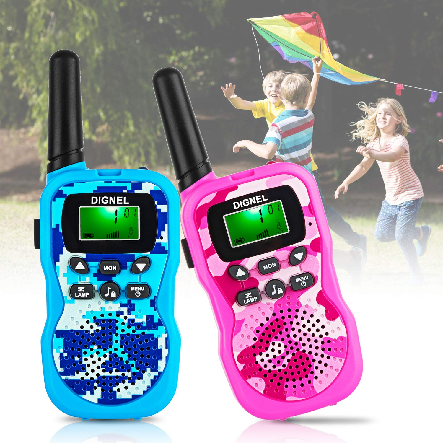 Dignel Walkie Talkies, Kids Walkie Talkies, 2 Packs 22 Channels Outdoor Toys, 3 Miles Range Walkie Talkies for Kids Camping Outdoor Adventures