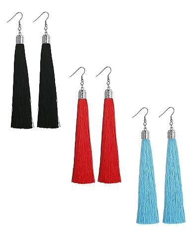 9b9c8c24c7ab Sailimue 3 Pares Acero Inoxidable Pendientes Borlas para Mujer Pendientes  Largos Bisuteria Aretes Negro Rojos Azules  Amazon.es  Joyería