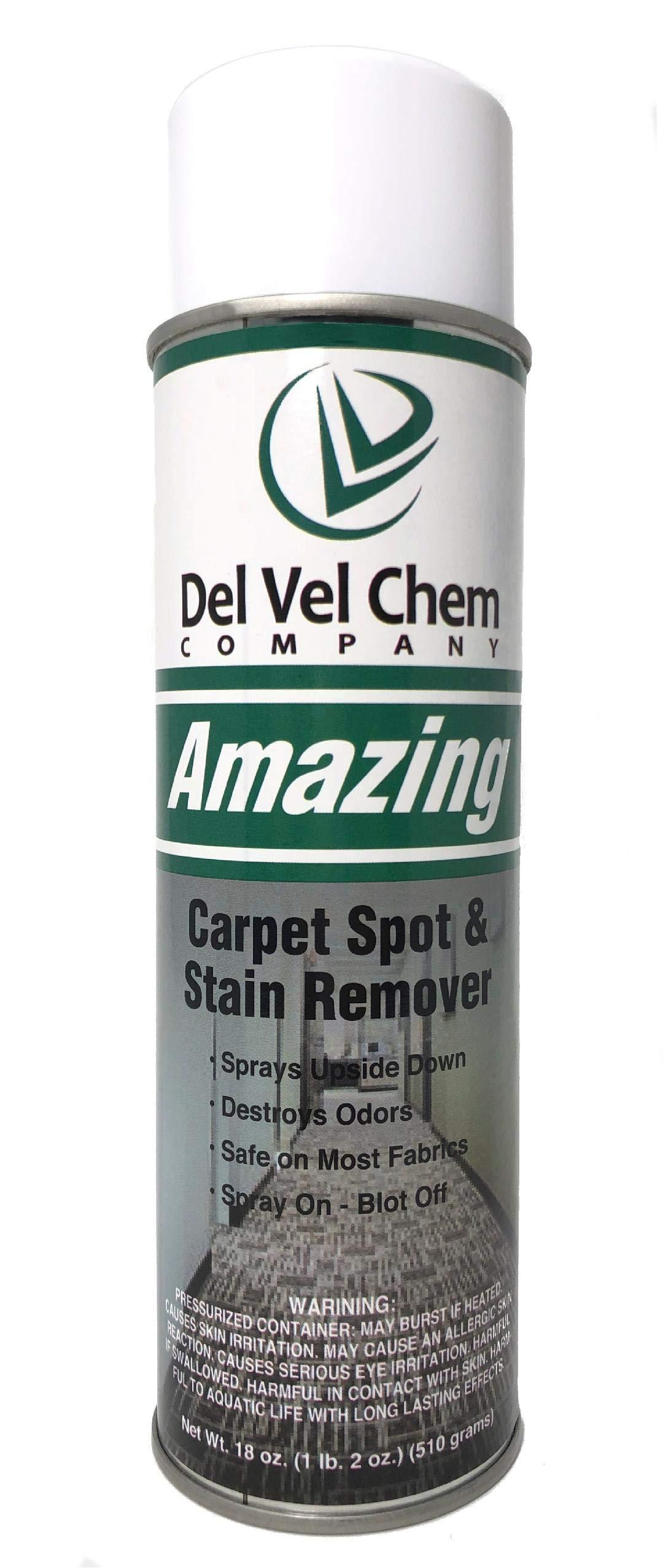 Del Vel Chem Amazing Carpet Spot and Stain Remover 18 oz Aerosol Case (12 Pack)