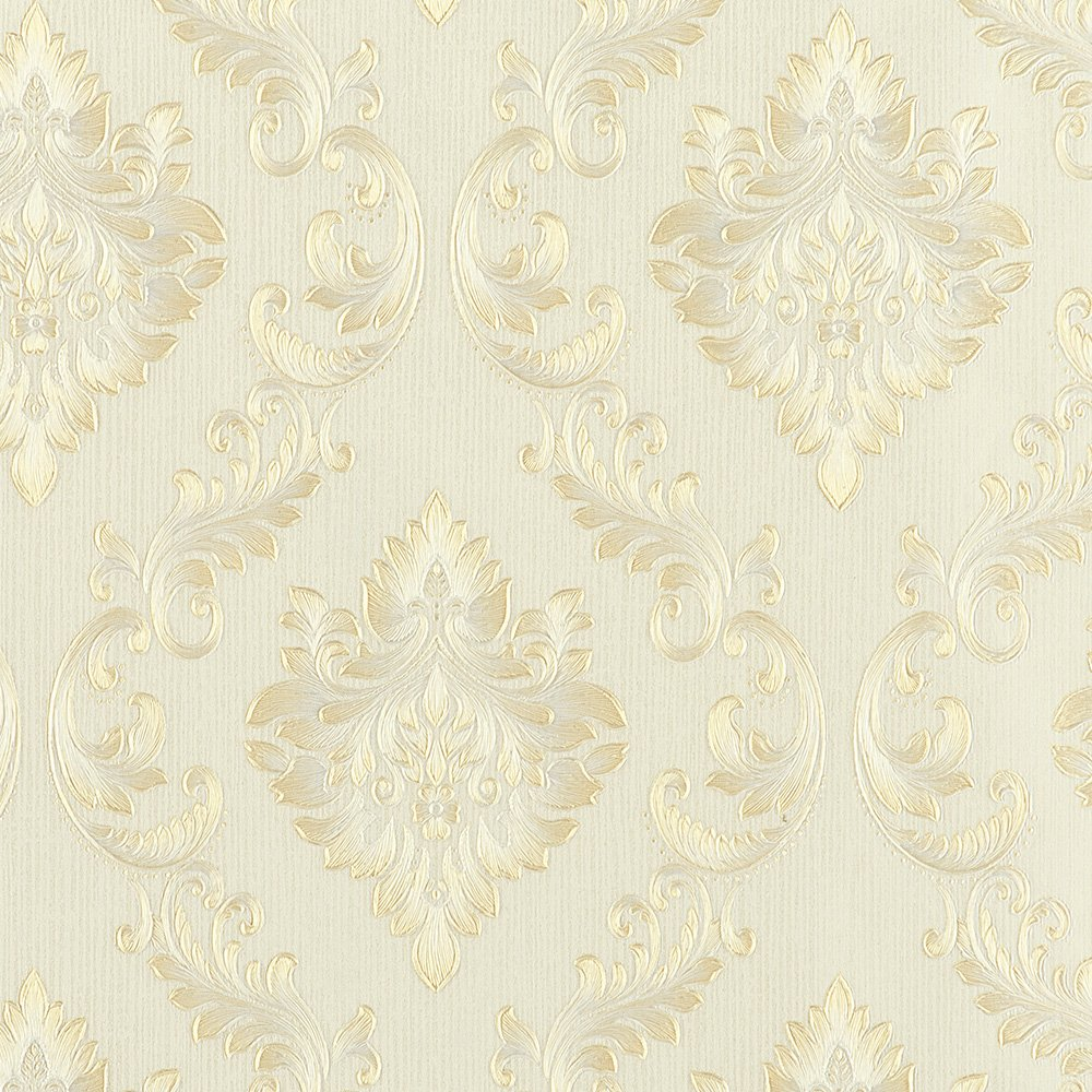 Wopeite European Vintage Luxury Damask Wallpaper Embossed Textured Paper Non-Woven Home Decor for Living Room Bedroom TV Backdrop by Wopeite (Image #1)