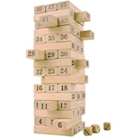 Magicwand® 51 Pcs Wooden Jenga Toy with 4 Dices (Wooden)