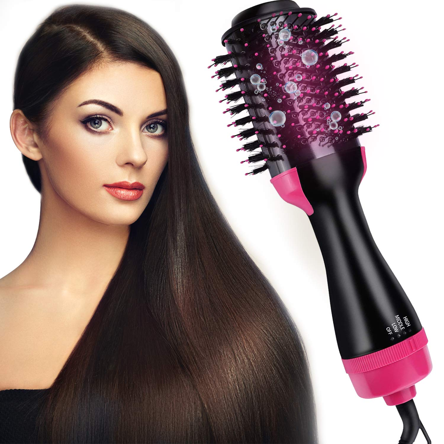 Hot Air Brush One-Step Hair Dryer Brush Volumizer,Dry Straighten Curl Comb 4 In 1 Salon Negative Ionic Hair Reduce Frizz And Static,Hair Styling Tools For Women And Girl All Types Hair