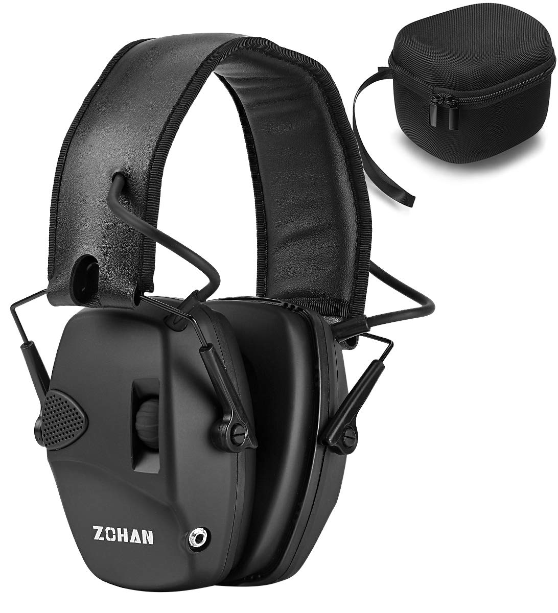 ZOHAN EM054 Electronic Shooting Earmuff, Professional Sound Amplification Noise Reduction Muff, Perfect for Shooting & Hunting - Black with Case by ZOHAN
