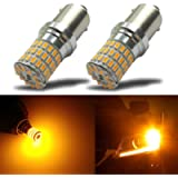 iBrightstar Newest 9-30V Extremely Bright 1156 1141 1003 BA15S LED Bulbs replacement for Turn Signal Rv Lights,Amber…