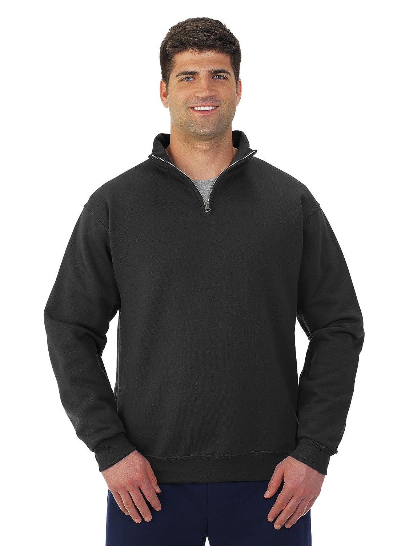 Large Jerzees Mens 995 Quarter-Zip Cadet-Collar Sweatshirt Black