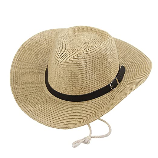 Bellcon Straw Cowboy Hats for Men Women Wide Brim Hat for UV Protection 6a5bf485bc26