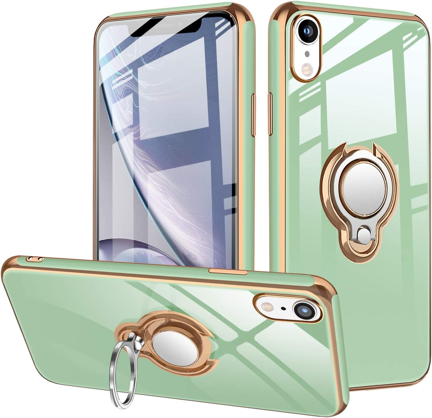 """iPhone XR Case Protective Cover 360°Rotatable Ring Kickstand Holder Case Shockproof Impact Protection Support Magnetic Car Mount Waterproof TPU Cover 6.1"""" Light Green"""