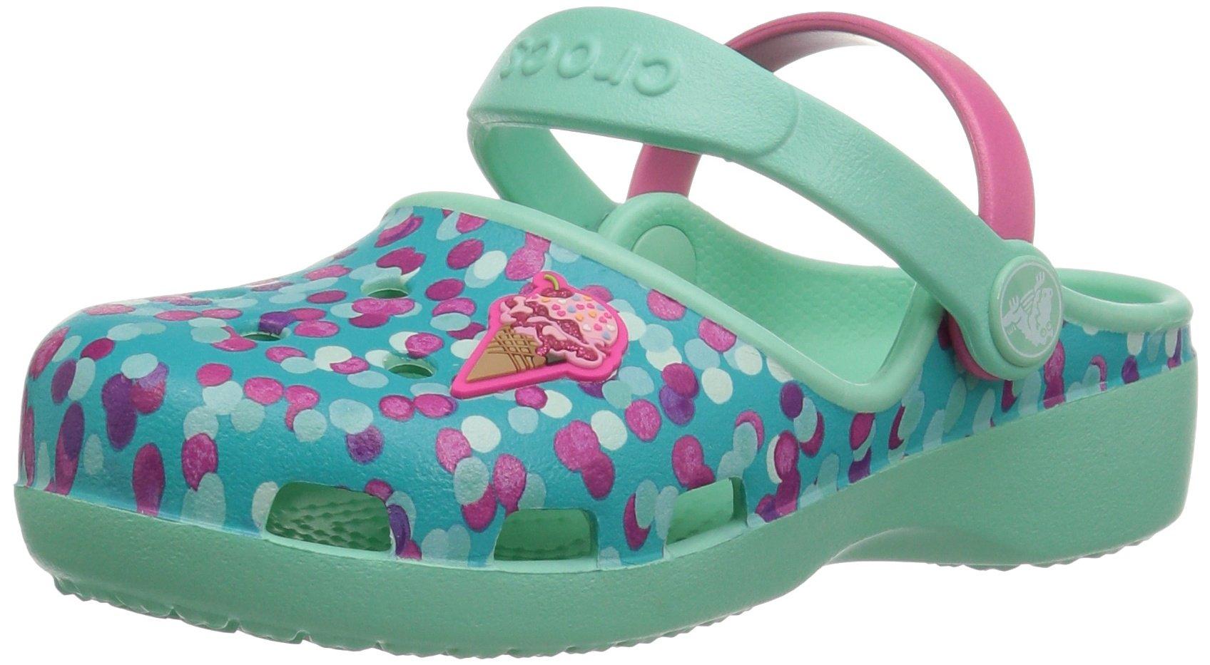 Crocs Girls' Karin Novelty K Clog, Mint, 2 M US Little Kid