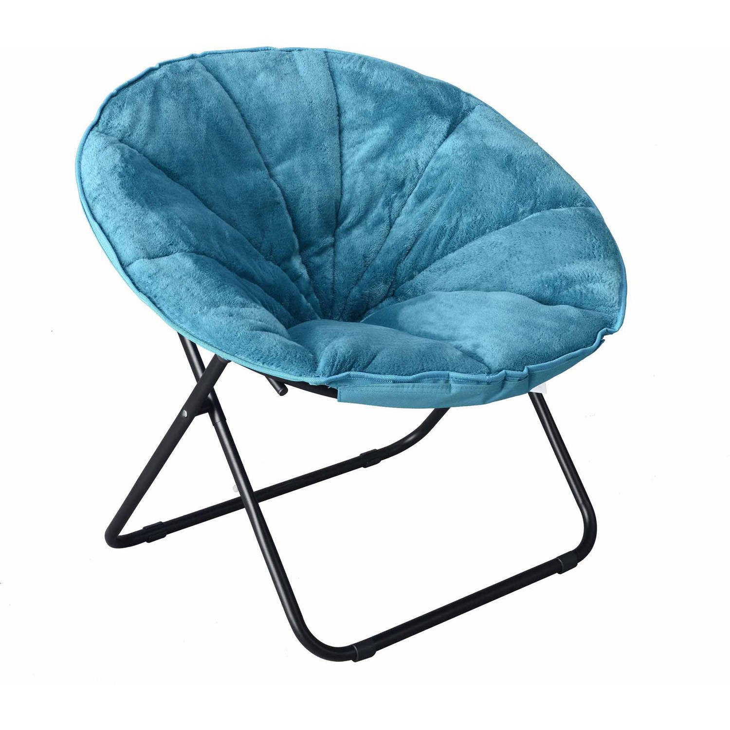 Teal Comfortable Faux Fur Plush Folding Saucer Chair