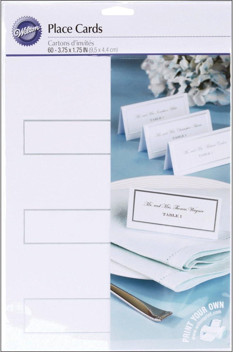 Amazon.com: Wilton borde plateado tarjetas de lugar, Silver ...