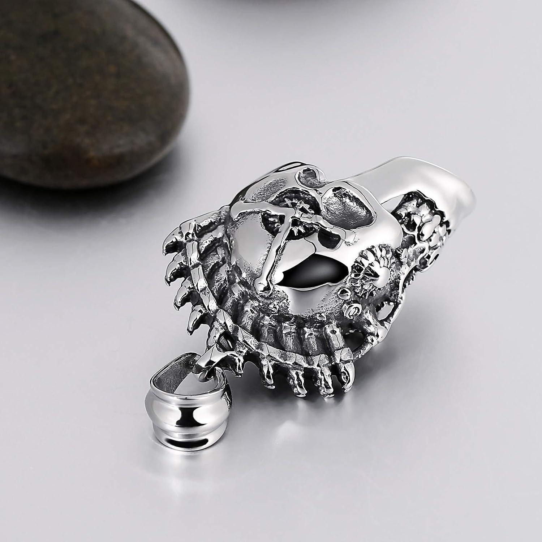 Aokarry Mens Titanium Steel Pendant Necklace Skull Pendant Silver