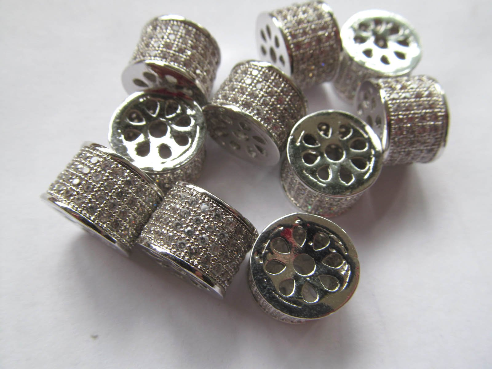 12pcs 9x13mm Micro Pave Cubic Zirconia Gunmetal Beads Spacer Beads Drum Tube Column Cubic Zirconia Pave Bead connector beads