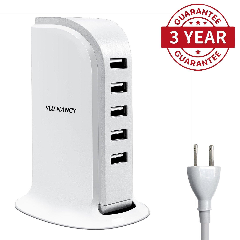 SUENANCY USB Plug/Desktop USB Charger Station, USB Wall Charger Multi Ports Rapid Charging Power Adapter, 5 Port 5 Feet Line Plug 6A 30W USB Multi Socket Charging Travel Adapter (White)
