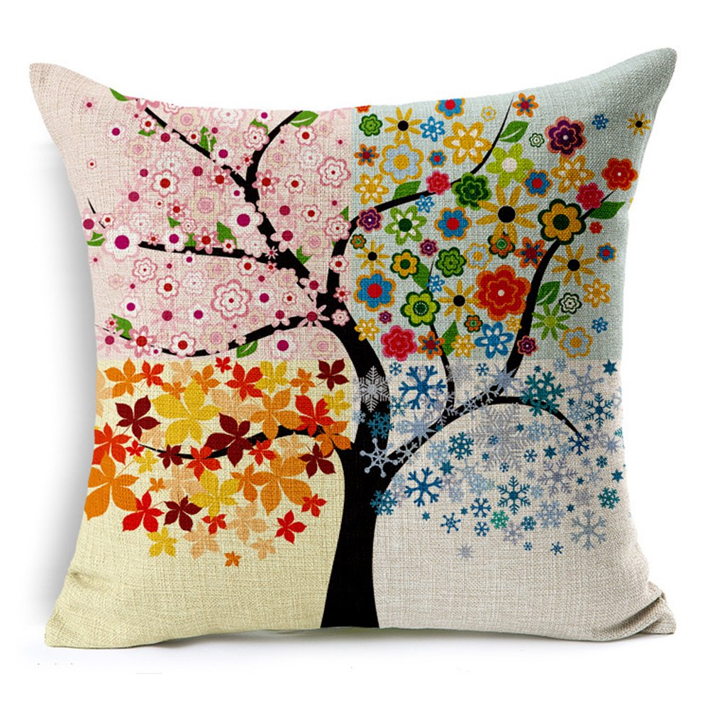 Poens Dream Housse de Coussin, Abstract Four Seasons Trees Cotton Linen Decorative Throw Pillow Case Cushion Cover, 17.7 x 17.7inches