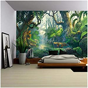 wall26 - Illustration - Fantasy Forest Background Illustration Painting - Removable Wall Mural   Self-Adhesive Large Wallpaper - 100x144 inches
