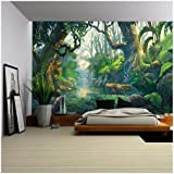 wall26 - Illustration - Fantasy Forest Background Illustration Painting - Removable Wall Mural | Self-Adhesive Large…