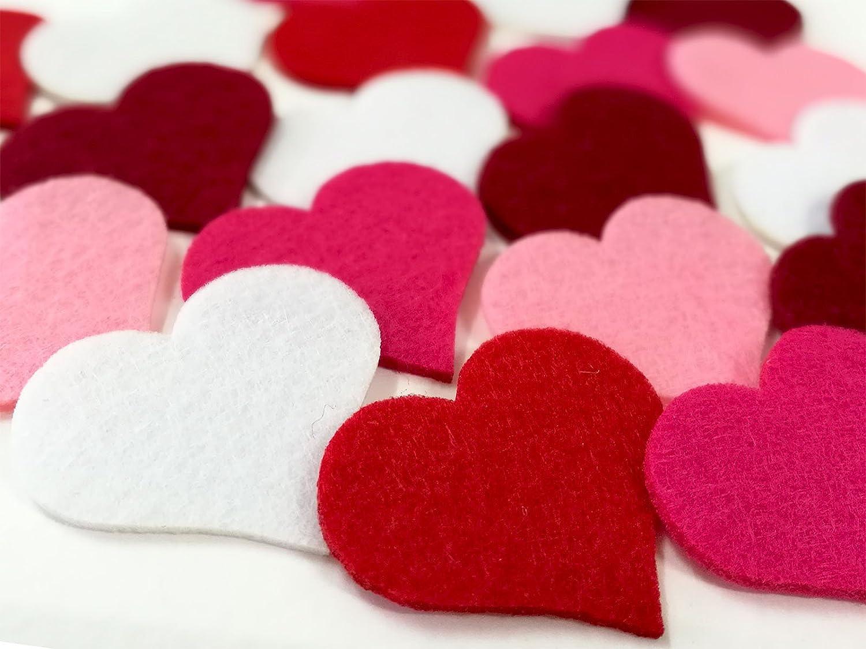 Summer-Ray 100 Felt Heart Laser Cutout Scrapbooking Embellishment Assorted Color