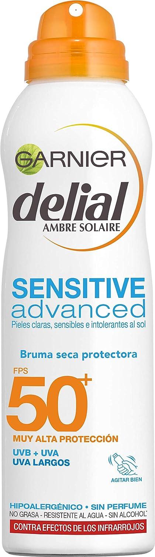 Garnier Delial Sensitive Advanced - Bruma Seca Protector Solar para Pieles Claras, Sensibles e Intolerantes al Sol IP50+ - 200 ml