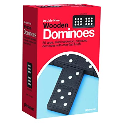 "Pressman 1621-12 Double Nine Wooden Dominoes, 5"": Toys & Games"
