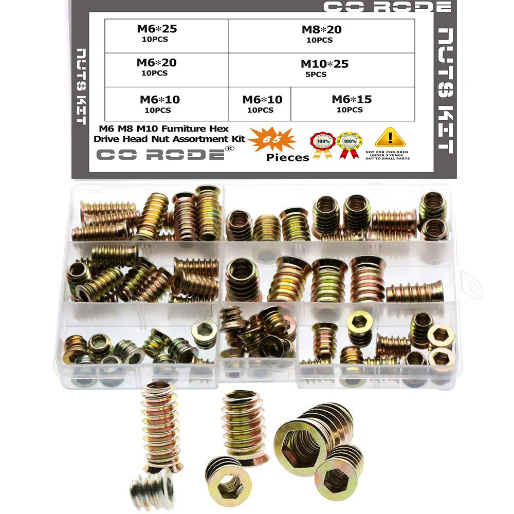 CO RODE E-nut Wood Inserts Interface Screw M6 M8 M10 Furniture Hexagonal Socket Nuts Fasteners