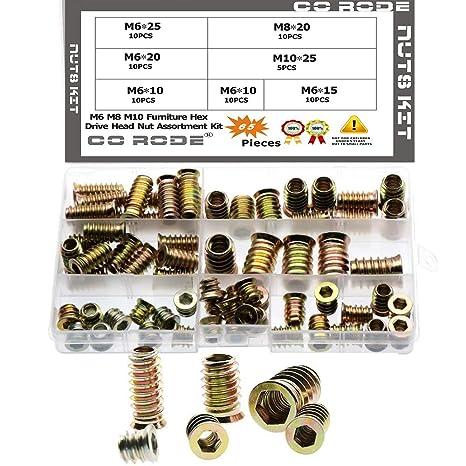 7 tama/ños Juego de 100 piezas de tuercas roscadas M4 M5 M6 M8 M10 de aleaci/ón de zinc para muebles de madera Whytin