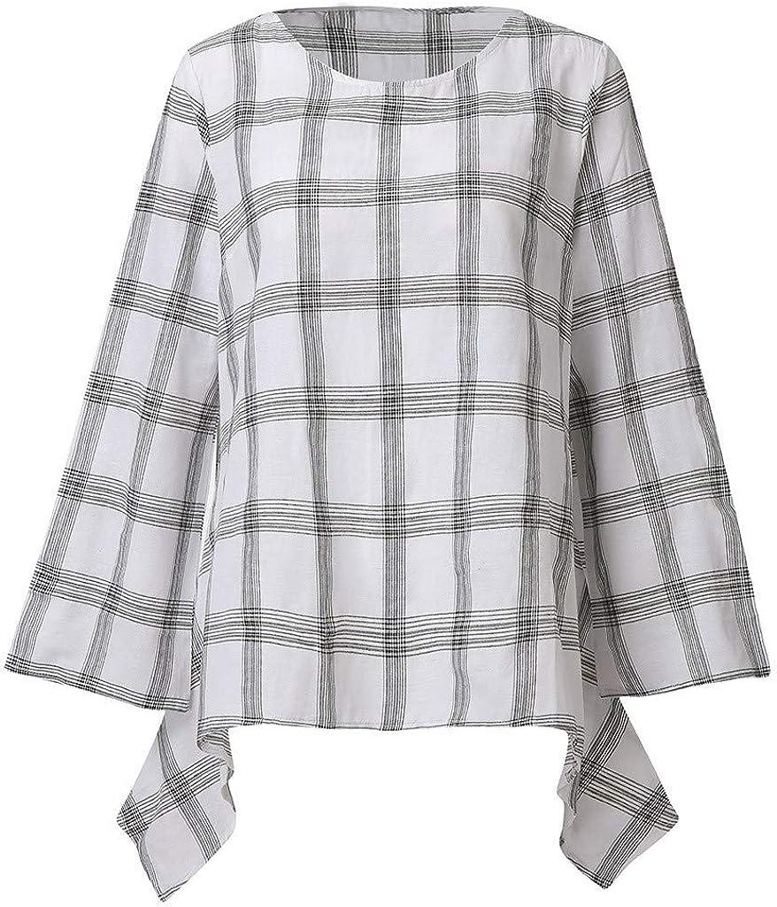 MOTOCO Camiseta de Mujer Patrón a Cuadros/O-Cuello Hecho de algodón Mangas Cortas Sueltas/Mangas largas para el Verano y el otoño(3XL, Blanco): Amazon.es: Ropa y accesorios