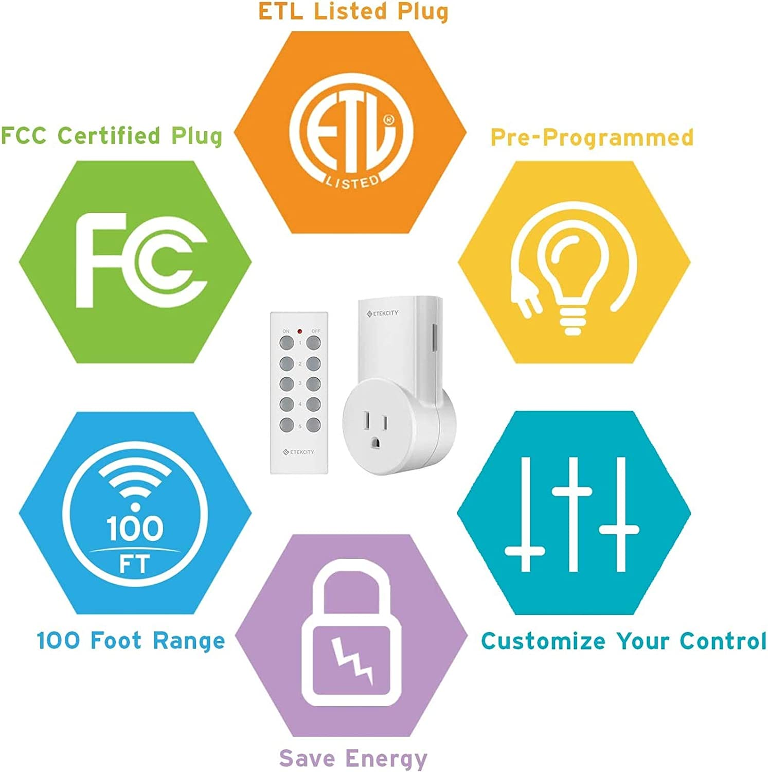 Etekcity Wireless Remote Control Outlet Light Switch for Lights, Lamps, Christmas Decorations, Plug and Go, Up to 100 ft. Range, FCC & ETL Listed, White (Learning Code, 5Rx-2Tx)