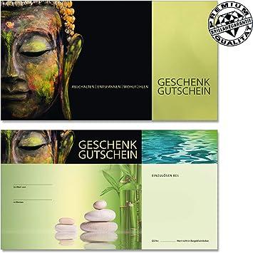 10 Kuverts Gutscheine f/ür Massage Wellness Spa Kosmetik Naturheilkunde Physiotherapie MA1231 10 hochwertige Gutscheinkarten 10 Schleifen