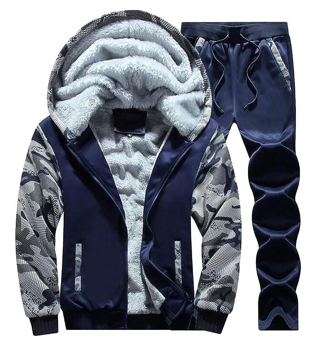ZXFHZS Mens Casual Long Sleeve Thicken Zipper Hoodie Sweatshirt Athletic Tracksuit