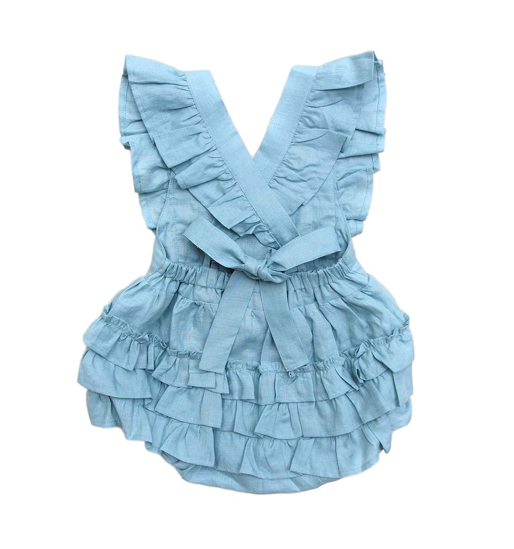 1856ffbfb4fb Amazon.com  Baby Girl Linen Romper - Sage