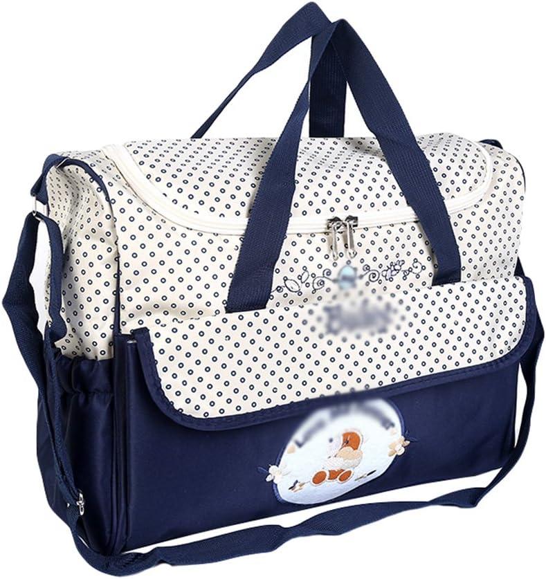 Jitong Mamás Bordado Bolso de Hombro para Viaje Hospital Gran Capacidad Bebé Bolsos Cambiadores de Pañales (Marino, 38 * 18 * 30cm)